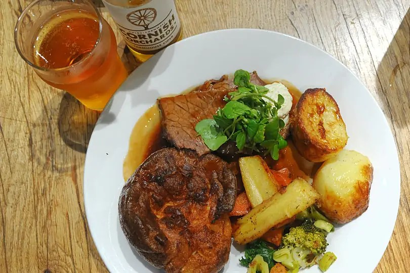 Roast dinner at the Eden Project, Cornwall