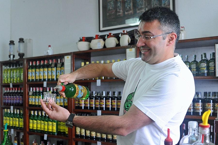 Tasting gin at the Xoriguer distillery, Menorca