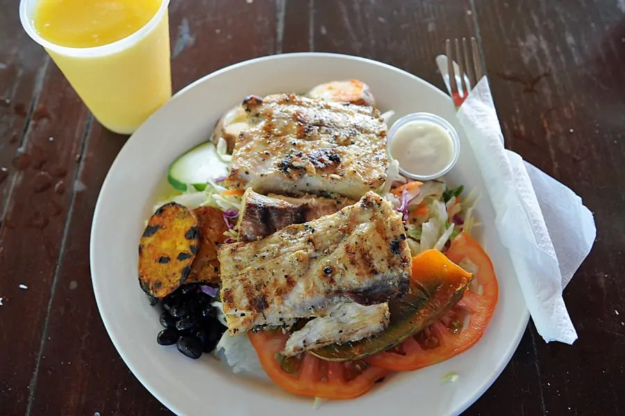 Fish salad at Reggae Beach Bar and Grill, St Kitts