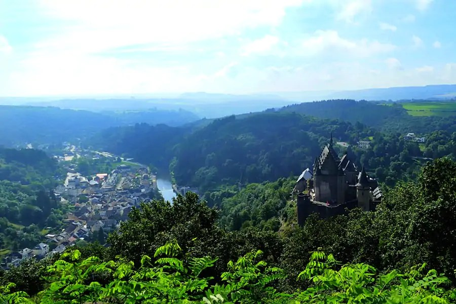 View from the top of the chairlift of Viaden Castle and the Our Valley