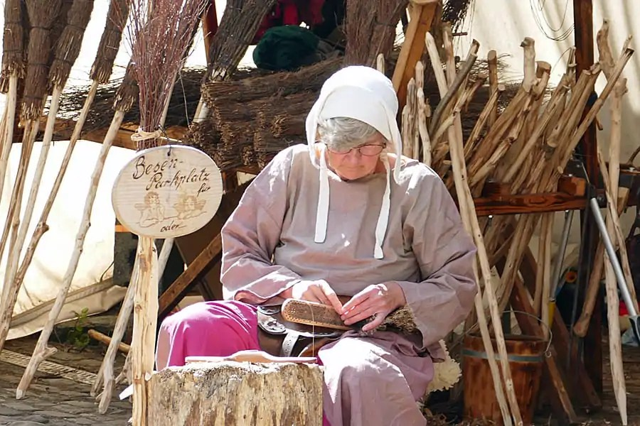 Broom making at the Medieval Festival at Viaden Castle, Luxembourg