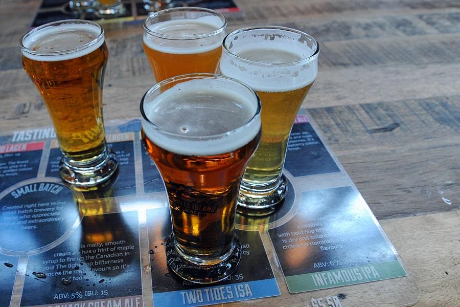 Beer Flight at Granville Island Brewing,, Granville Island, Vancouver, British Columbia, Canada