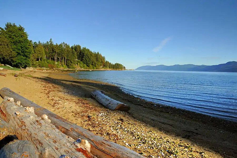 The beach at Seabreeze Resort near Powell River, Sunshine Coast, Canada