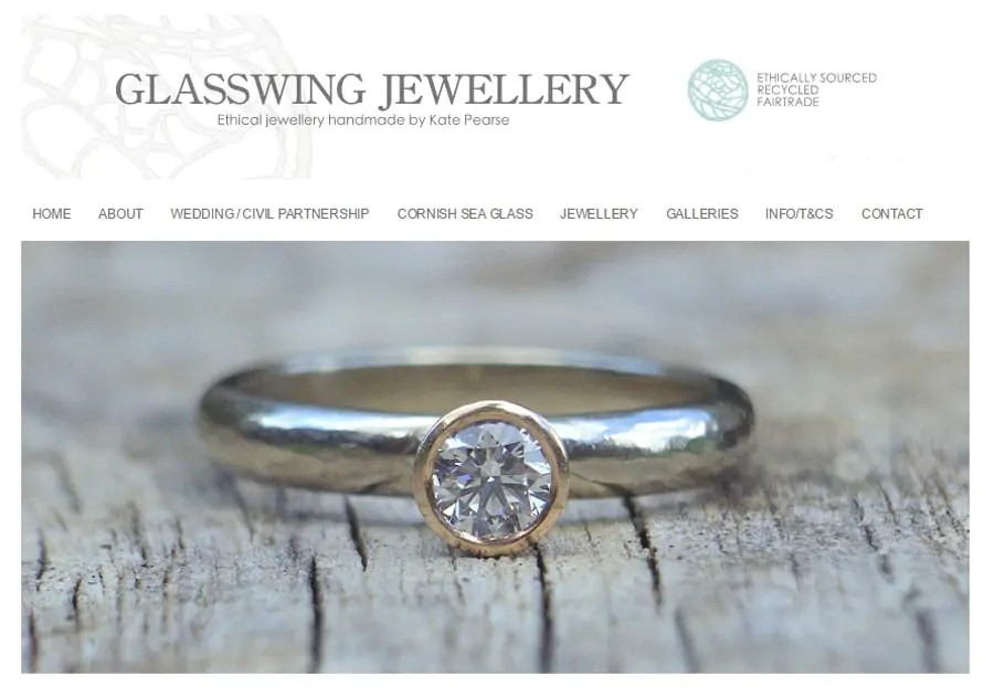 Glasswing Jewelery for ethical wedding and engagement rings and jewllery