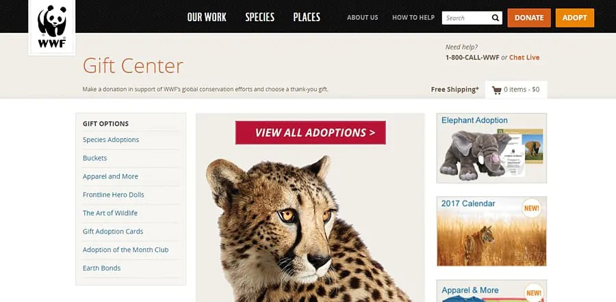 WWF, online shop for ethical gifts that give back