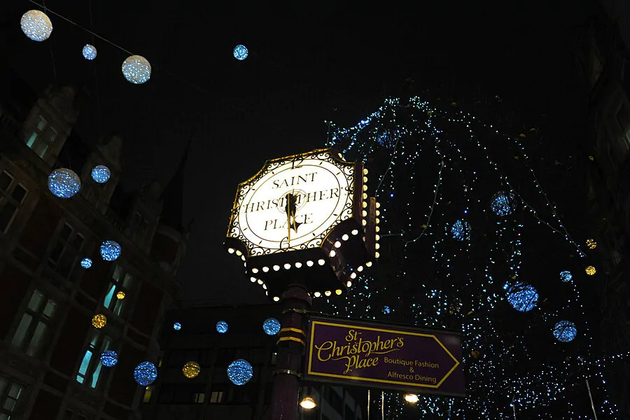 The lights of Oxford Street leading to St Christopher Place