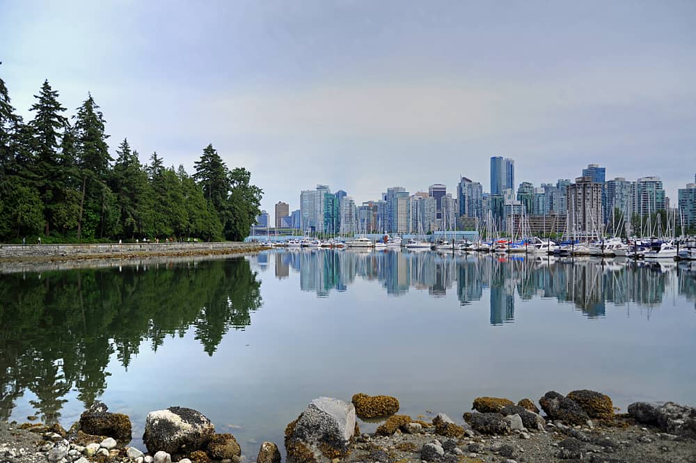 Stanley Park and Vancouver's skyscrappers, British Columbia, Canada