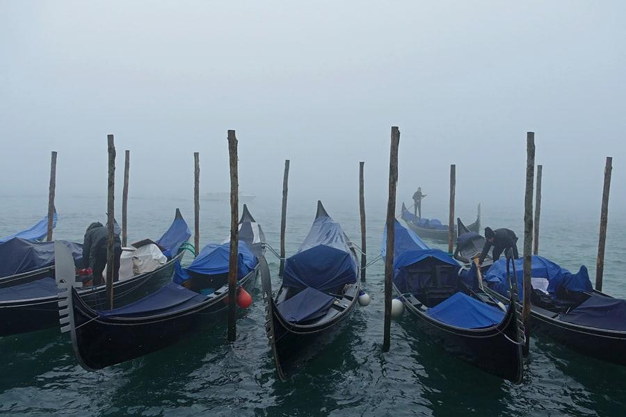 GOndolas on a foggy day in Venice, Ita;y