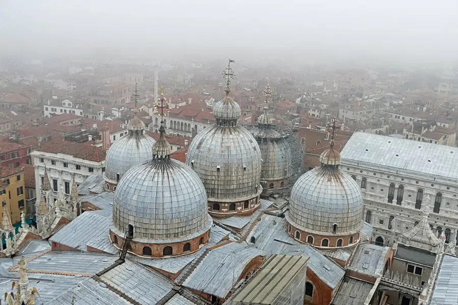 Rooftops of Venice through the fog