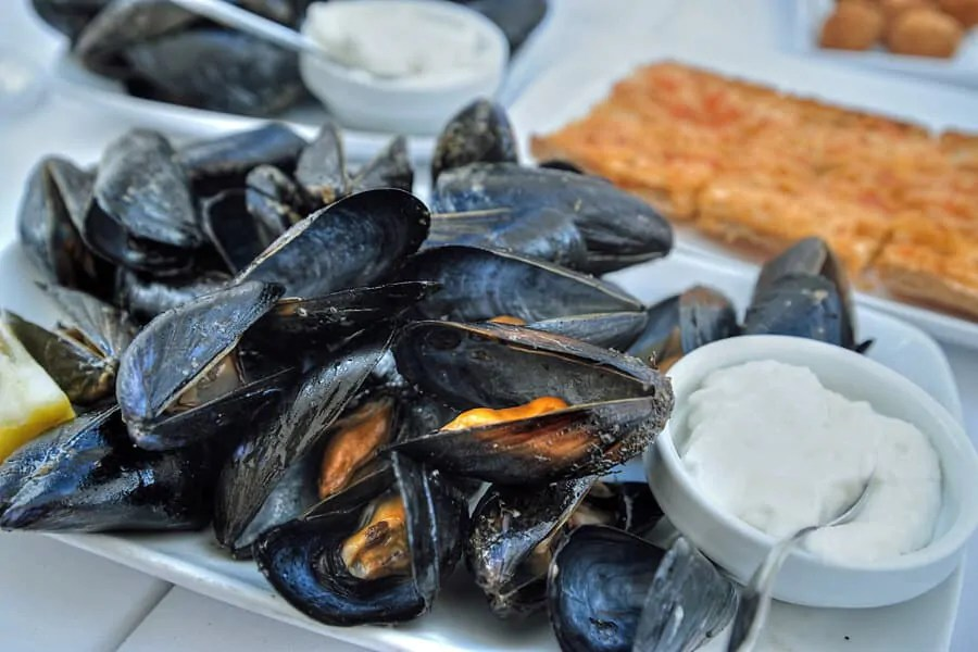 Mussels by the harbour in Cituadella, Menorca, Spain - one of my top 10 things to do in Menorca