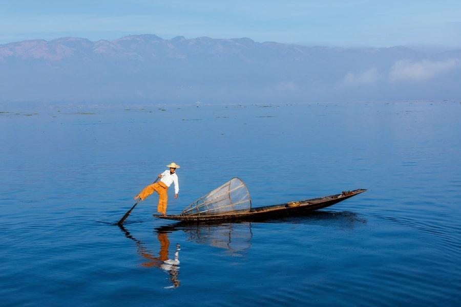 A traditional fisherman on Inle Lake, Burma (Myanmar)
