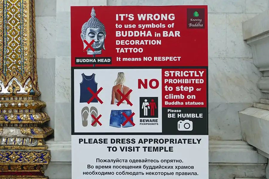Bangkok temples notice