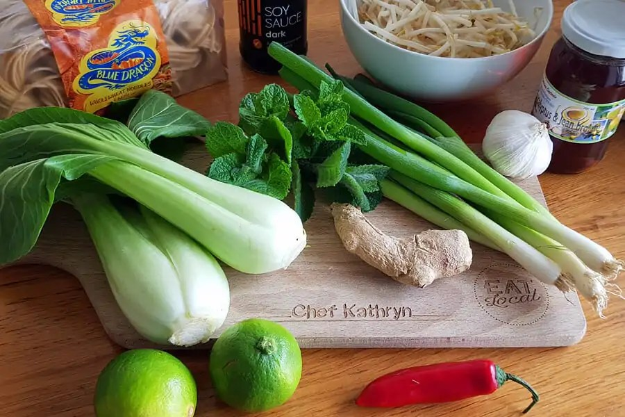 Ingredients for easy Thai chicken noodle soup recipe