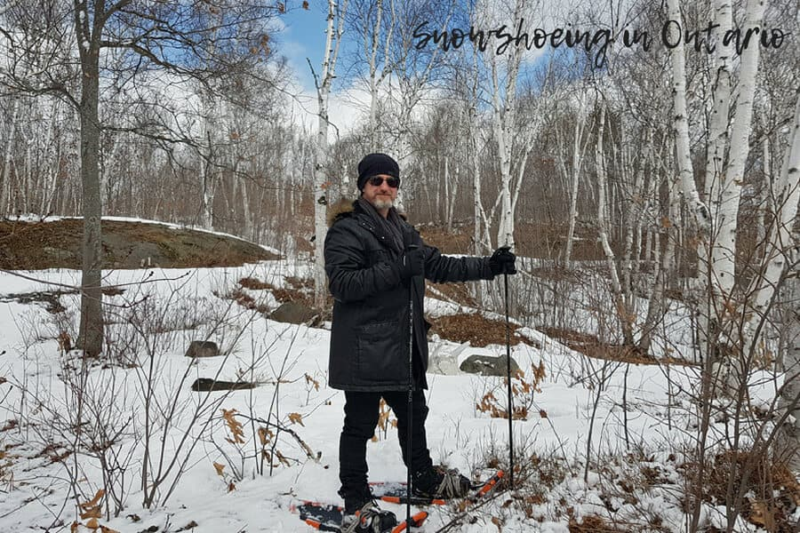 Snow shoeing in Canada's woodlands in winter and early srping.