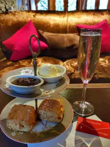 Cream tea at Bailiffscourt Hotel & Spa, Climping, West Sussex