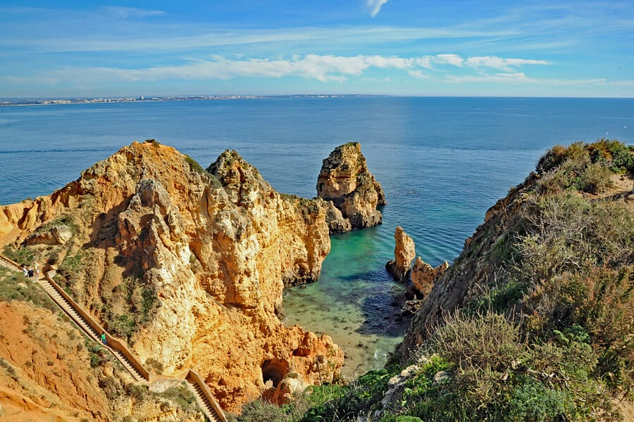 The stairs leading down to the jetty at Ponta da Piedade, Algarve, Portugal