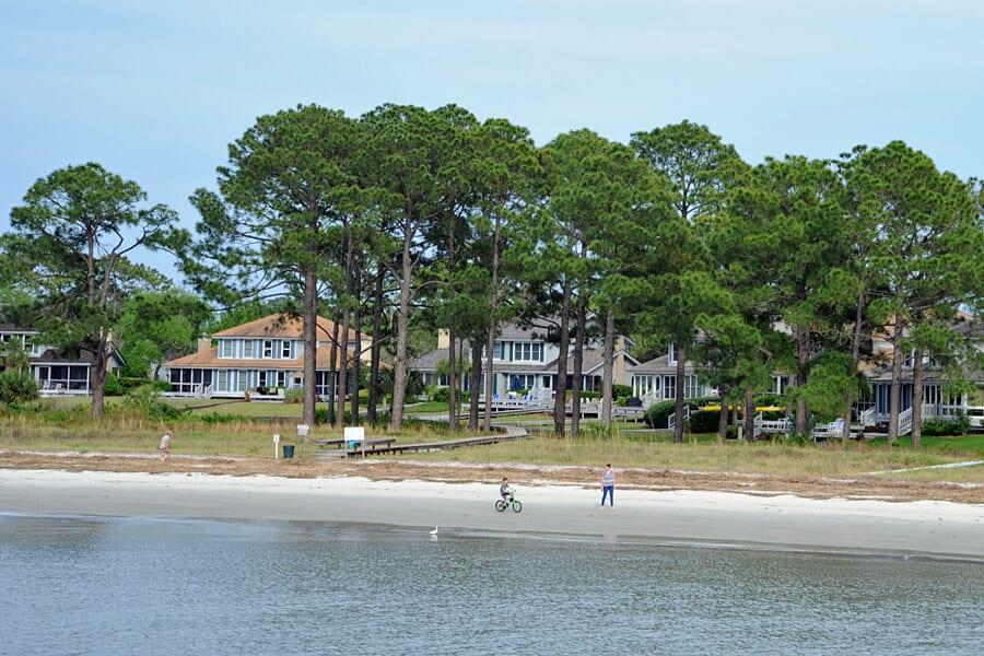 Cycling along the sands at low tide on Hilton Head Island, South Carolina