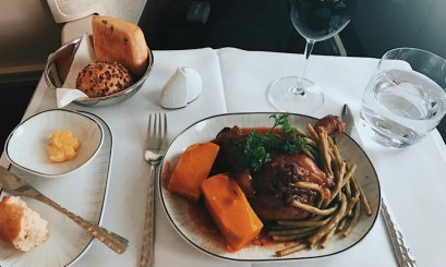 Review Thai Business Class 777 Phuket- Frankfurt Hautgang Main Course