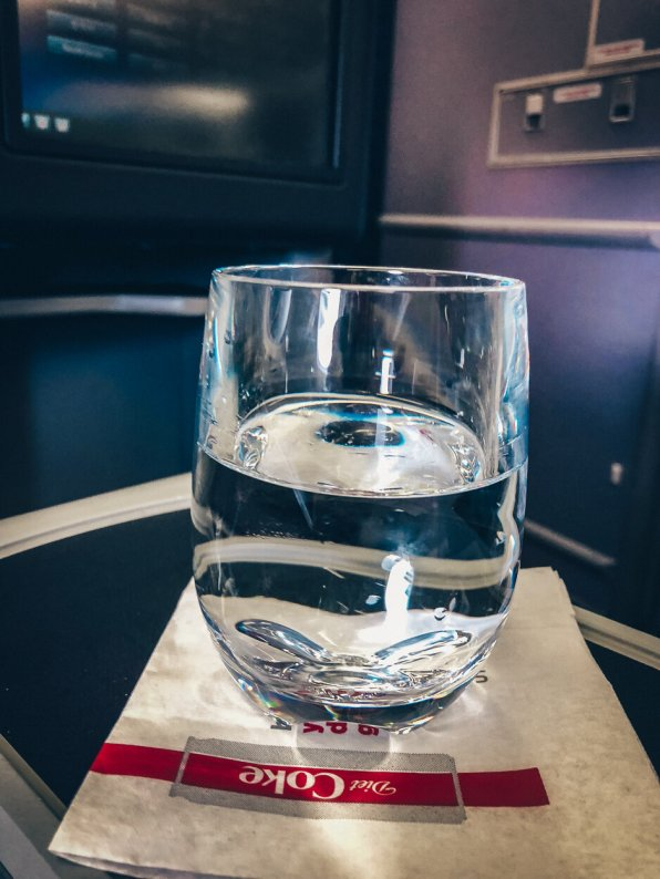 Review United Polaris Business Class Boeing 767 Pre-Departure Drink Wasser Plastikglas