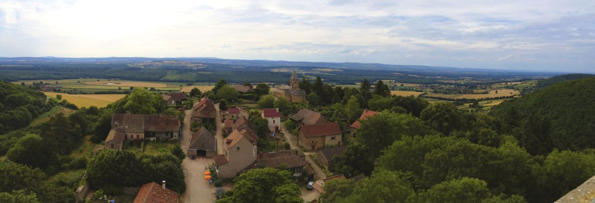 Panoramic view of the Medieval village Brancion in Burgundy, France