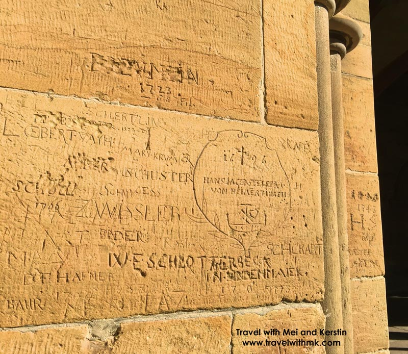18th and 19th century graffiti on the outer wall of The Paradise, Maulbronn Monastery, German © Travelwithmk.com