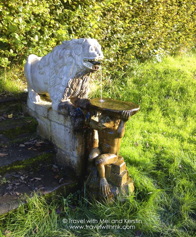 Lion and monkey fountain in the gardens of the Ansembourg Castle, ©  Travelwithmk.com