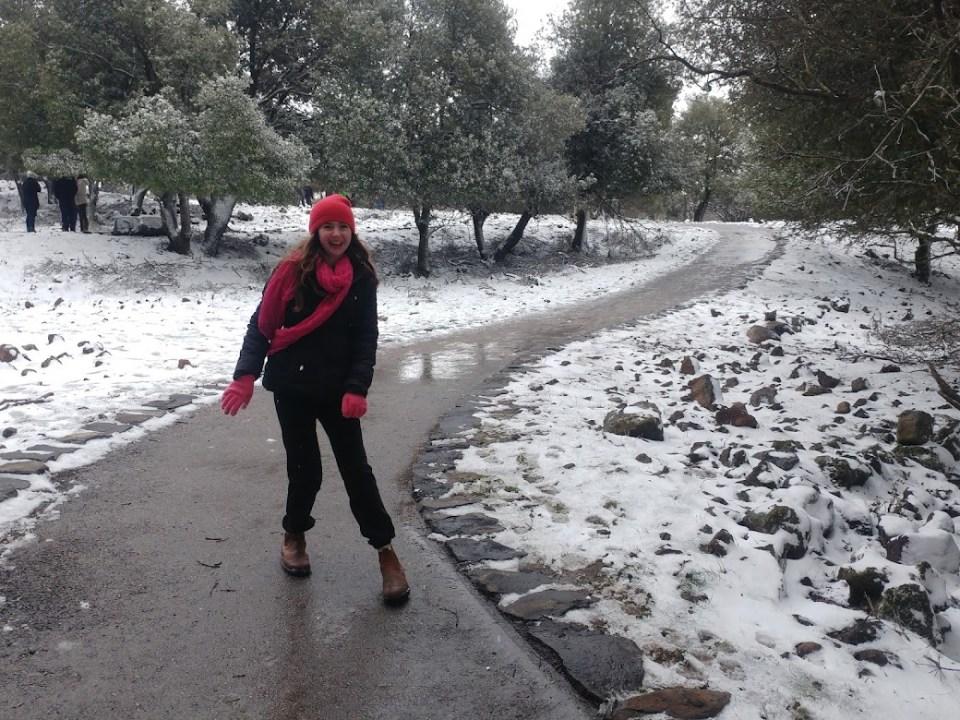 שלג ביער אודם - ליד הג'ובה הגדולה.