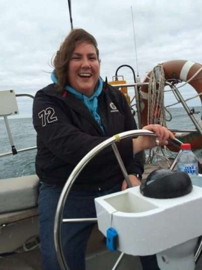Gill onboard Guava - Adelaide Sailing School