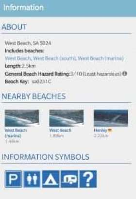 West Beach information from Beachsafe website
