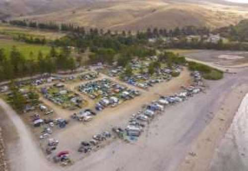 Aerial view of a busy weekend at Rapid Bay Campground