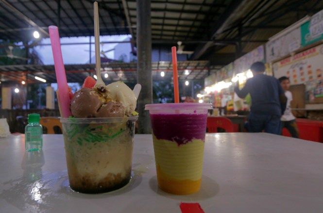 ABC with ice cream and 3 layer fruit smoothie