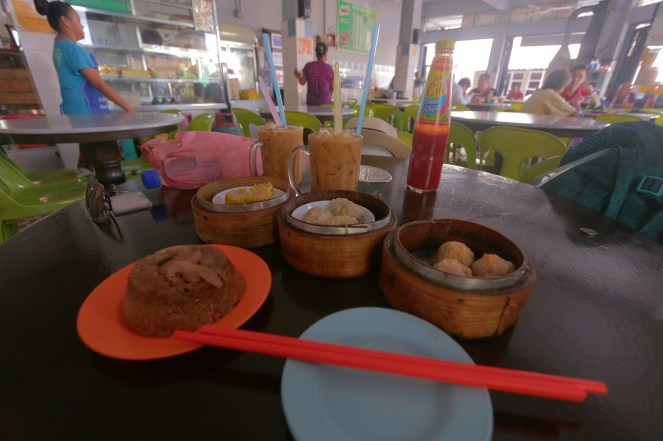 Sticky rice with meat, dumplings ( 3 kinds), cold tea and coffee