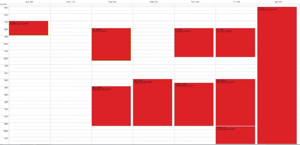 BHA Non-Overnight Schedule