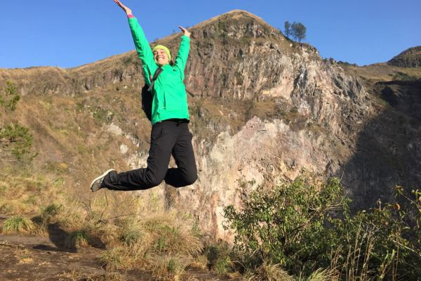 Jumping for Joy on Mount Batur in Bali