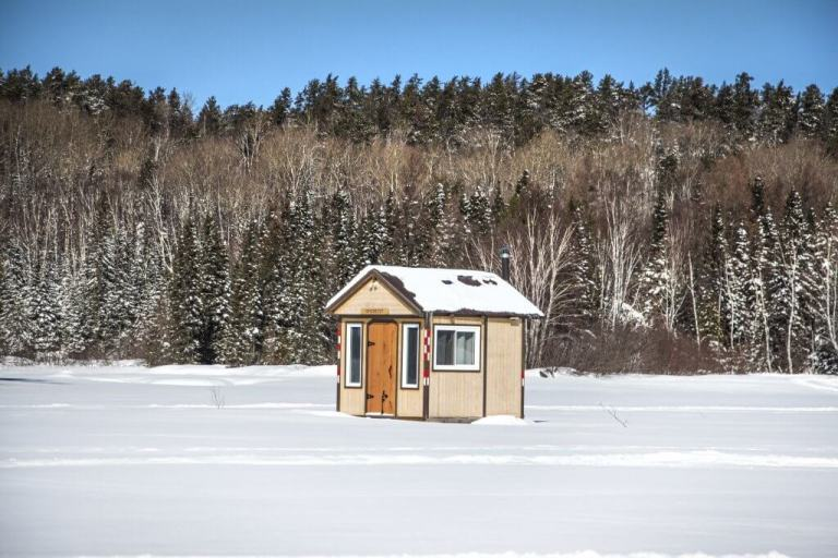 Windy Lake Wooden Ice Fishing Hut Closeup