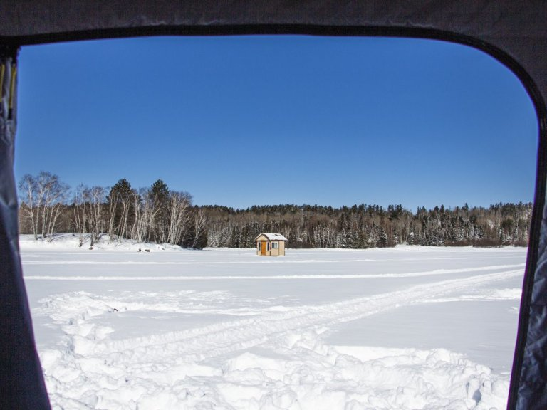 Wooden Ice Fishing Hut in Northern Ontario