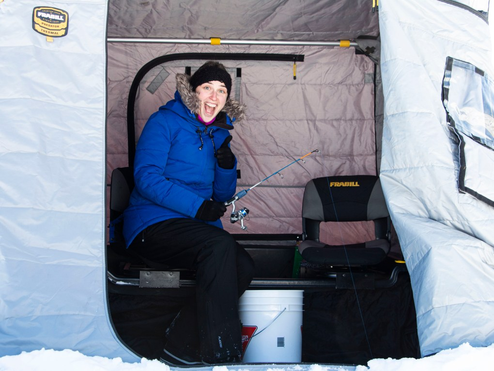 Winter Weekend at Windy Lake Provincial Park Already a Pro at Ice Fishing