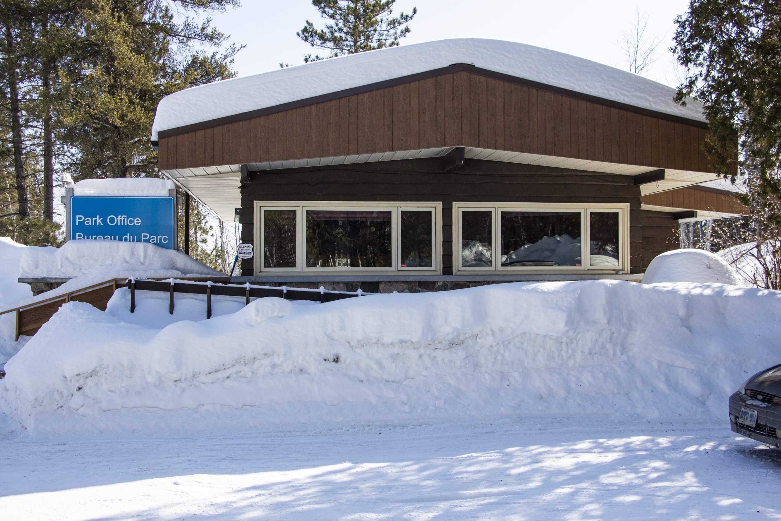 Windy Lake Provincial Park Office Covered By Winter Snow