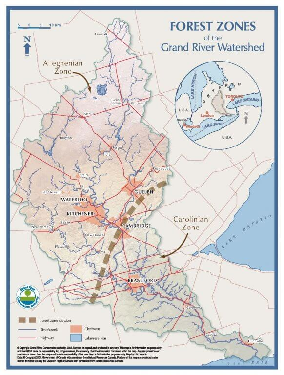 Watershed Map Forest Zones - Grand River.ca