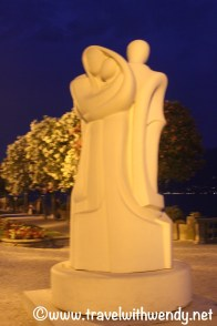 Family statue in park