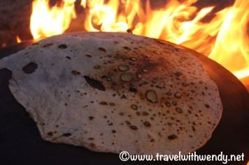Fresh pita on the stone