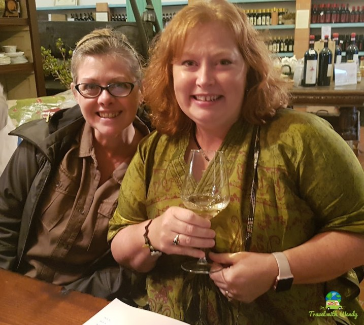 Having fun at the wine tasting