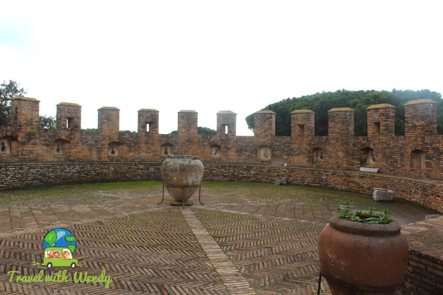 Oil casks on top of the castle