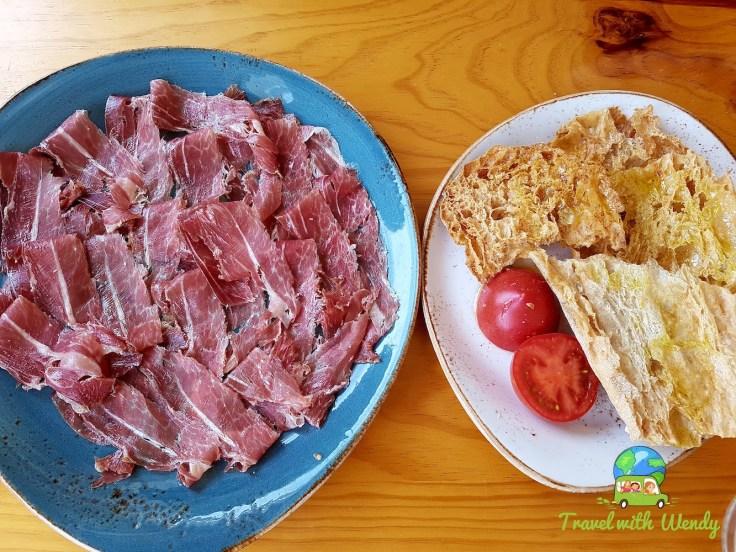 Crude Ham and fresh breads