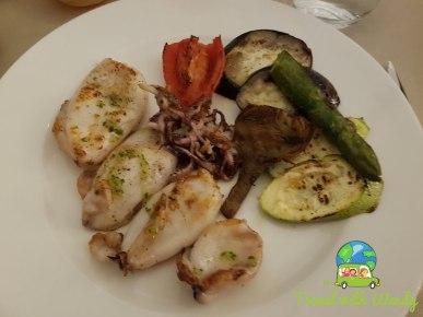 Octopus, squid and veggies
