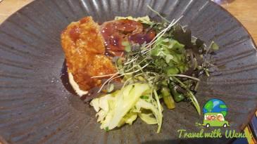 Pork with salad and asparagus