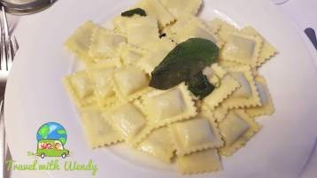 Butter sage ravioli with spinach ricotta filling