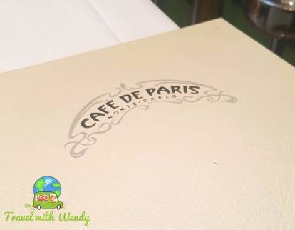 Cafe de Paris Menu - Monaco