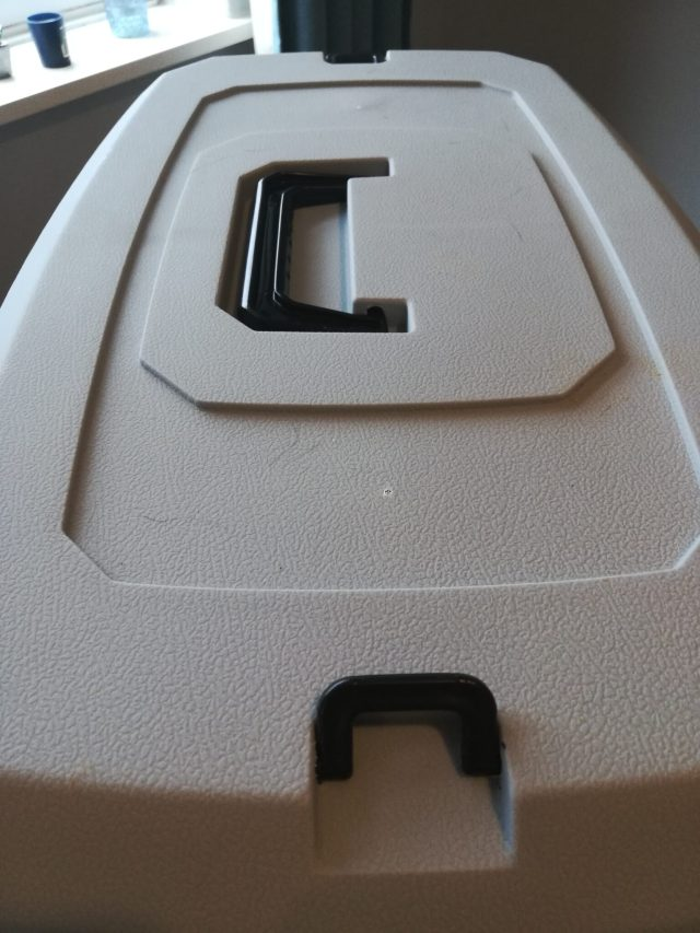 Close up of plastic cat carrier