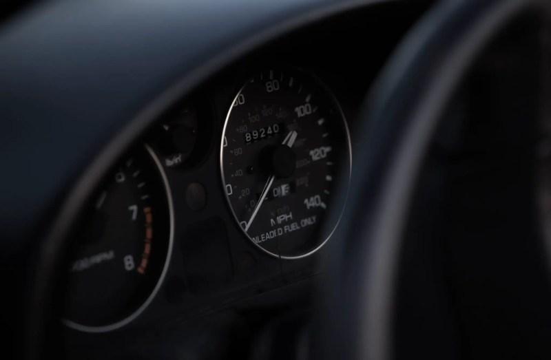 Black car interior close up